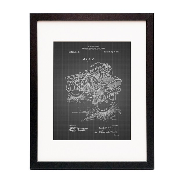 Motorcycle Sidecar 1918 Patent Poster