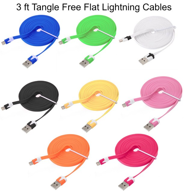 Flat 3 foot Lightning Cable Charger Cord For iPhones and iPads Assorted