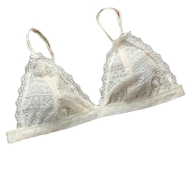 Women Floral Sheer Lace Triangle Bralette Bra Crop Top Lingerie Mesh lining