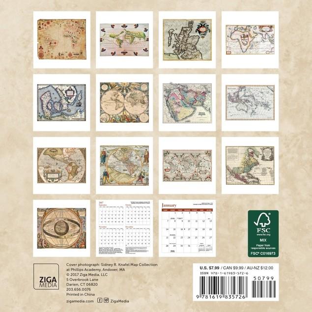 Antique Maps Mini Wall Calendar, Fine Art by Ziga Media