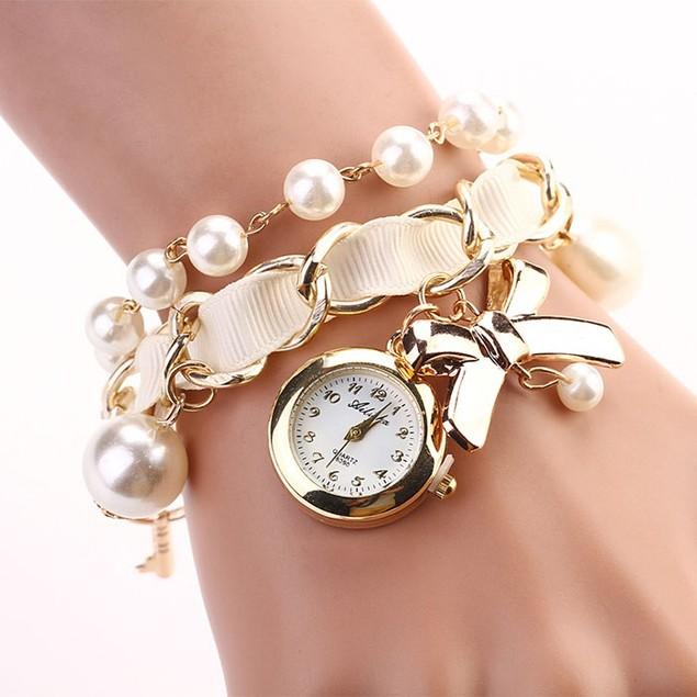 Women Artificial Pearl Bowknot Bracelet Quartz Wristwatches Watches