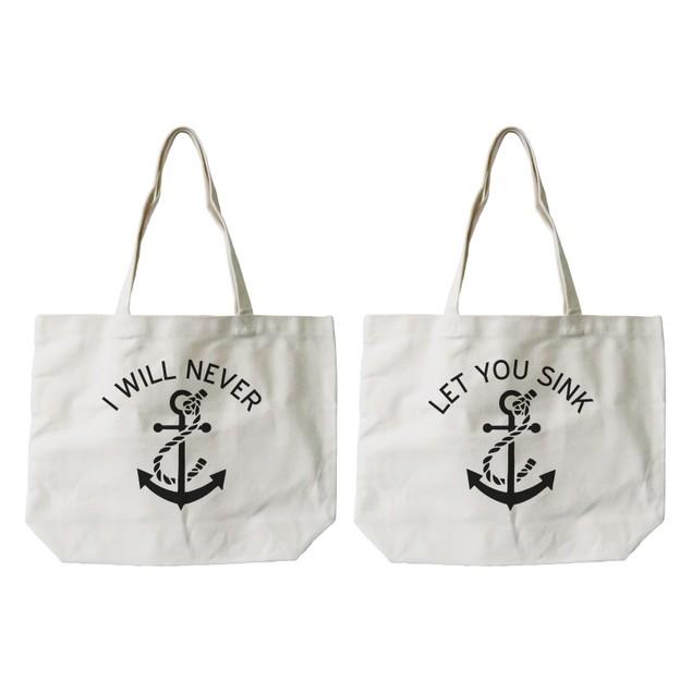 BFF Anchor Matching  Natural Canvas Tote Bag