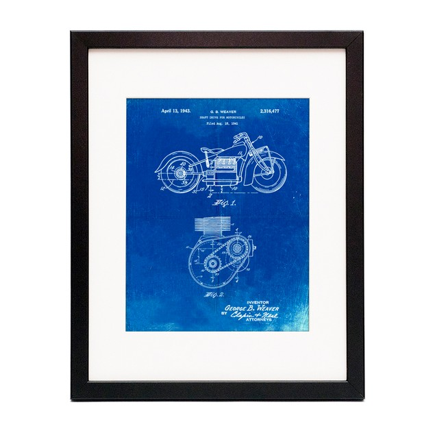 Motorcycle Drive Shaft Patent Poster