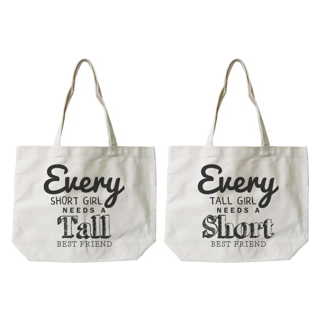 Short and Tall Best Friend Matching Natural Canvas Tote Bag