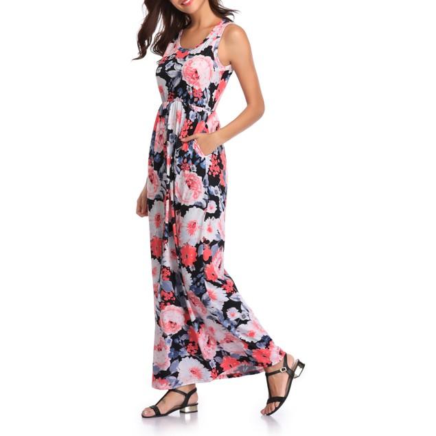 Women's Colorful Flower Print Maxi Dress