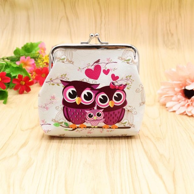Women Lady Retro Vintage Owl Leather Small Wallet Hasp Purse Clutch Bag