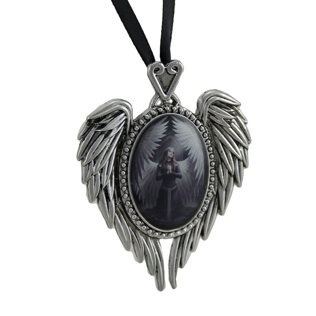 Anne Stokes Prayer For The Fallen Angel Wing Cameo Womens Pendant Necklaces