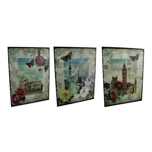 3 Pc. New York, London, Rome Decorative Glass Wall Decorative Plaques