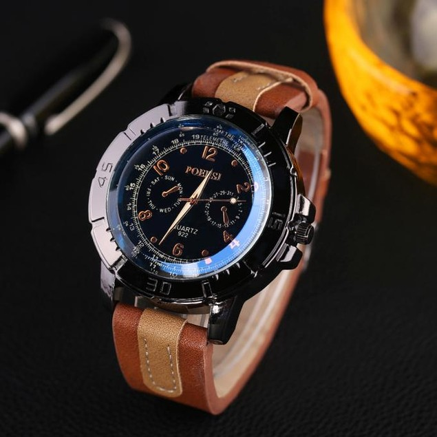 Men's Watches Analog Quartz Faux Leather Sport Wrist Watch