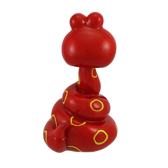 Red And Yellow Coiled Bobble Head Snake Children`S Toy Banks