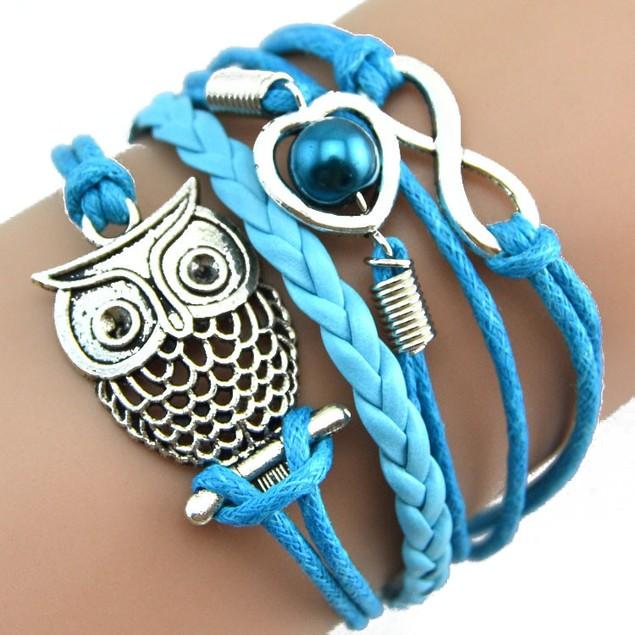 Women Owl Pearl Friendship Multilayer Charm Leather Bracelets