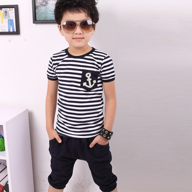 Summer Children Clothing Boys Navy Striped T-shirt And Pants Suits