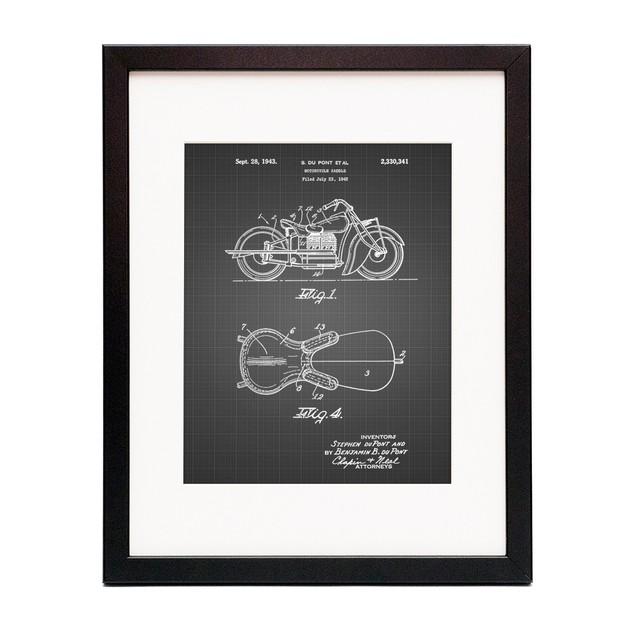 Motorcycle Saddle Patent Poster
