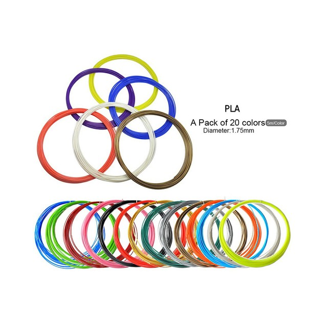 3D Printer Filament for 3D Pen Refills Type PLA Diameter:1.75 mm-20 Colors