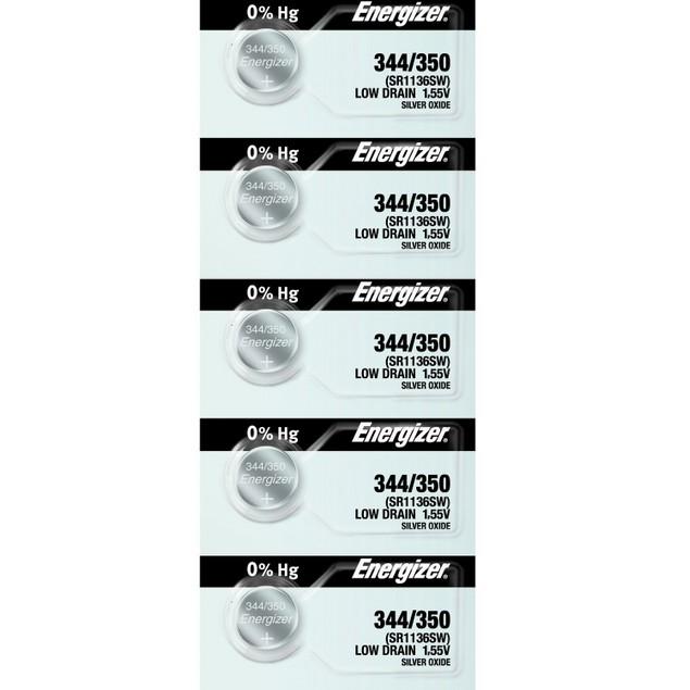 Energizer 344/350 (SR1136/W/SW) Silver Oxide Watch Batteries (5 Pack)