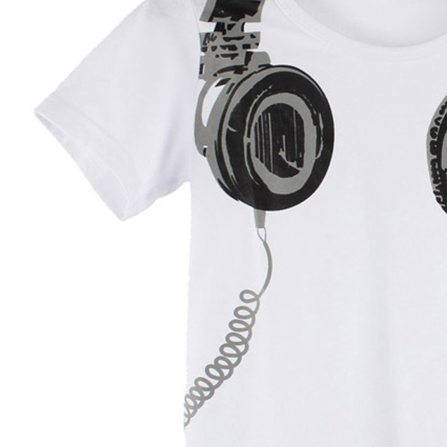 Boy Summer Casual Headphone Short Sleeve Tops Blouses T Shirt