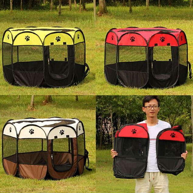 8 Sides Pet Dog Tent Outdoor Fence Portable Cat Dog Foldable Pop Up Tent