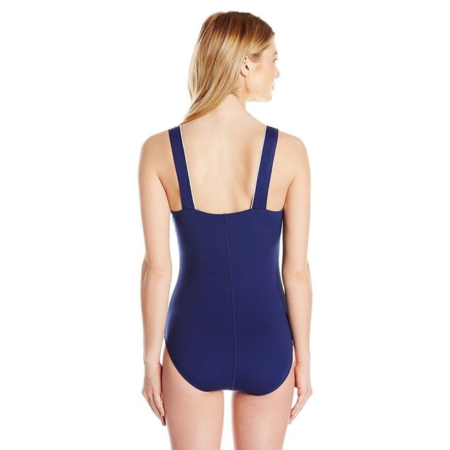 Speedo Women's Endurance+ Texture Square Neck One Piece Swimsuit, SZ 1