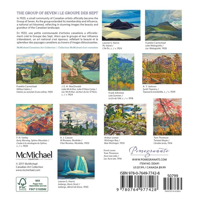 The Group of Seven Mini Wall Calendar (Bilingual), Fine Art by Pomegranate