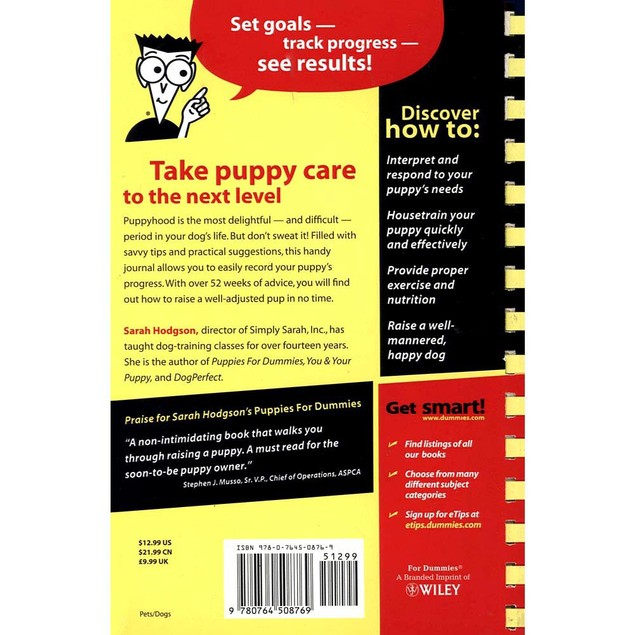 Puppy Raising and Training Diary for Dummies Book, Dog Training by Wiley
