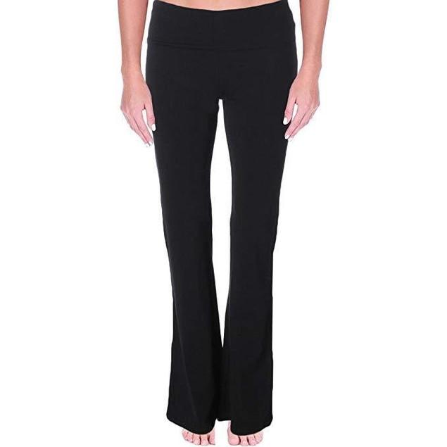 Mopas Women's Black Fold Over Yoga Pants,Black,Large