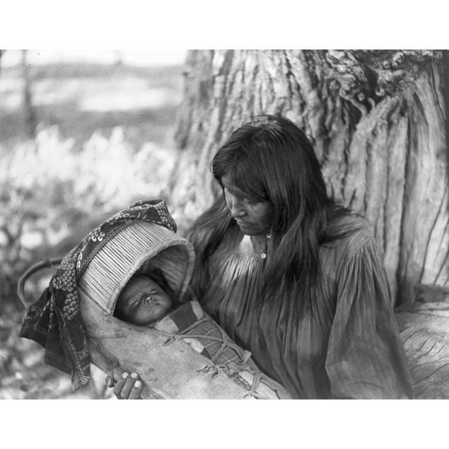 Apache Woman & Child, C1906. /Nan Apache Woman Holding An Infant In A Cradl