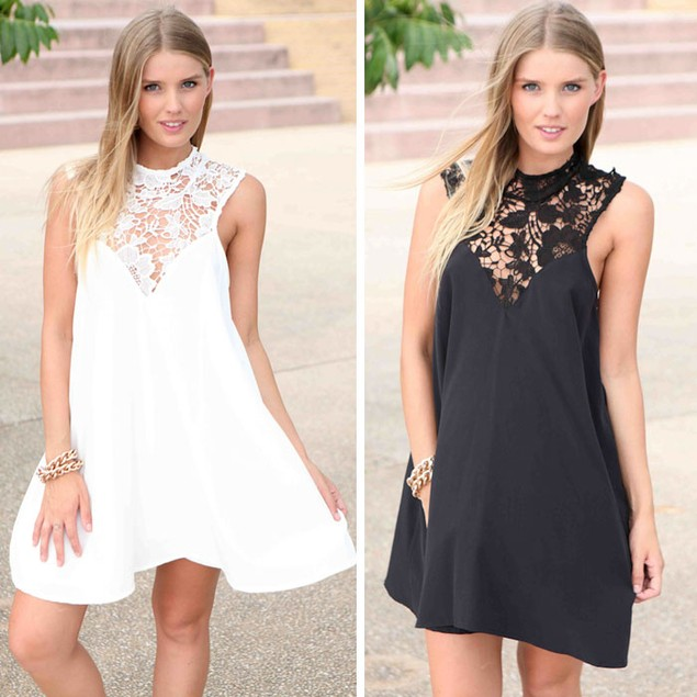 Women Summer Sexy Chiffon Lace Casual Party Evening Short Mini Dress