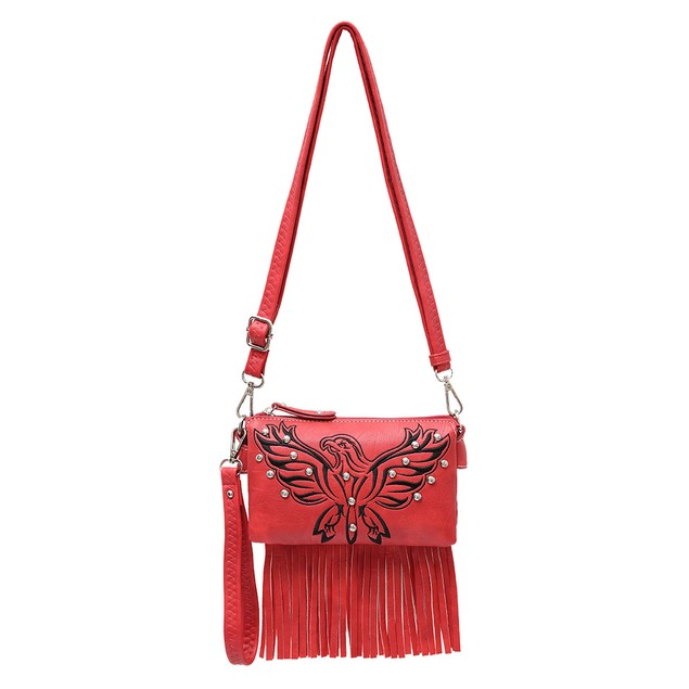 Embroidered Eagle 5 Pocket Fringed Cross Body Bag
