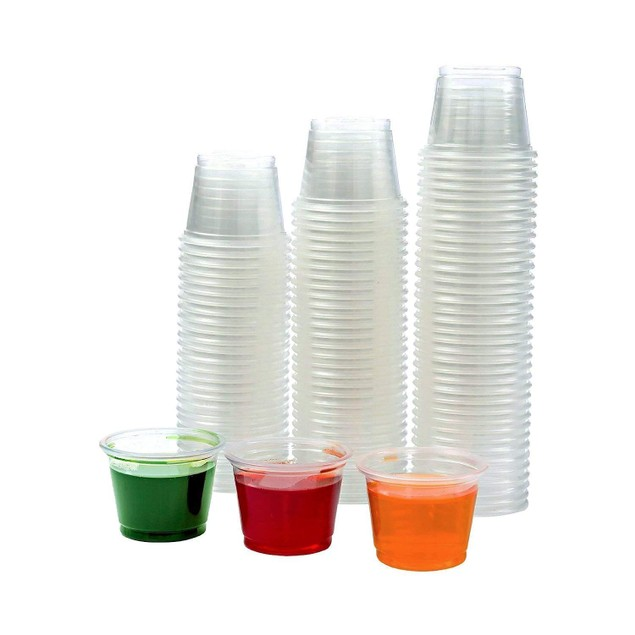 Plastic  Shot Souffle Clear Cups Lids Included (1 oz, Clear (125 Cups)