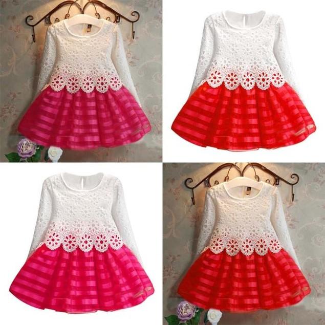 Girls Long Sleeve Princess Dress Hollow Flower Girl Dress