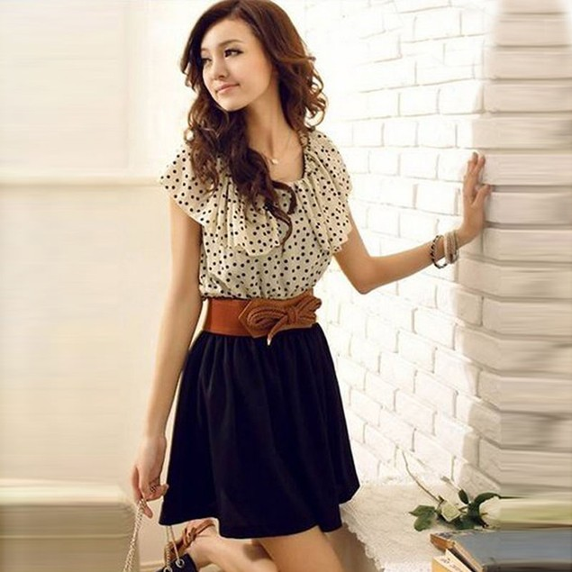 Women Summer Short Sleeve Chiffon Dots Polka Waist Mini Dress+Belts