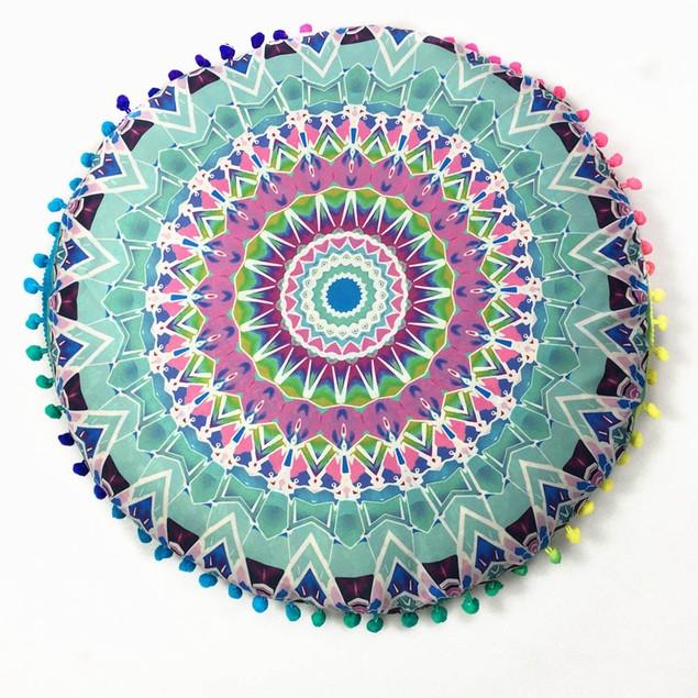 Indian Mandala Floor Pillows Round Bohemian Cushions Pillows Cover Case