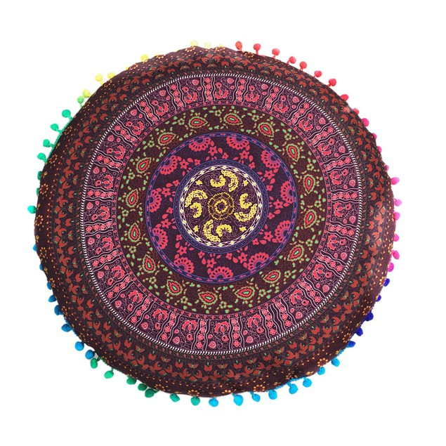 Indian Floor Pillows Round Bohemian Cushion Cushions Pillows Cover Case