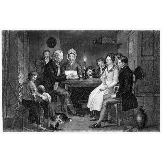 Family Reading, 1840. /N'Saturday Night.' Line And Stipple Engraving, C1840