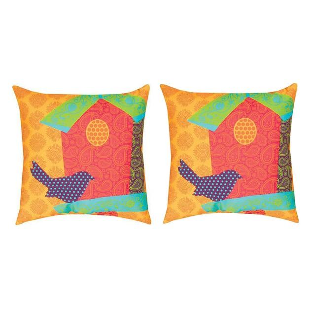Pair Of Pop Rhythm Birdhouse 18In. Decorative Throw Pillows
