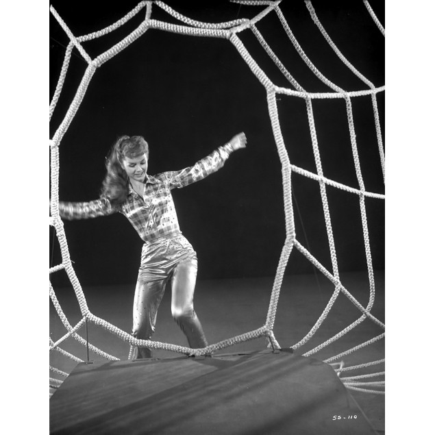 Debbie Reynolds standing in Checkered Top on a Spider Web Poster