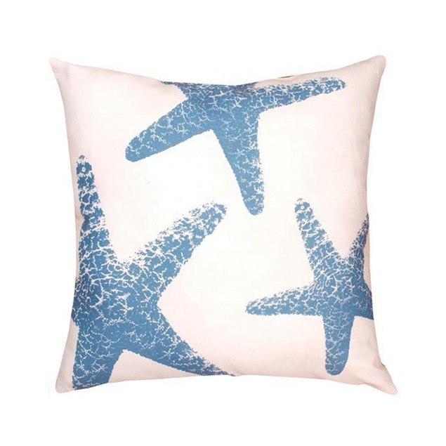 Pair Of Blue/White Starfish In/Outdoor Decorative Patio Furniture Pillows