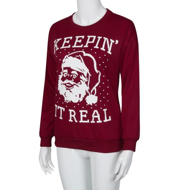Santa Claus Printed Long Sleeve Tops T-Shirt Blouse Loose Couple Shirt