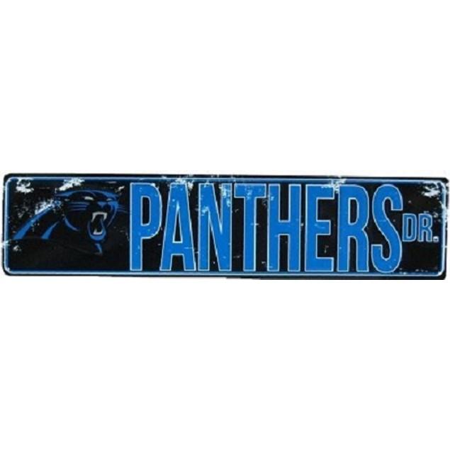 """Carolina Panthers NFL Panthers Drive """"Distressed"""" Metal Street Sign"""