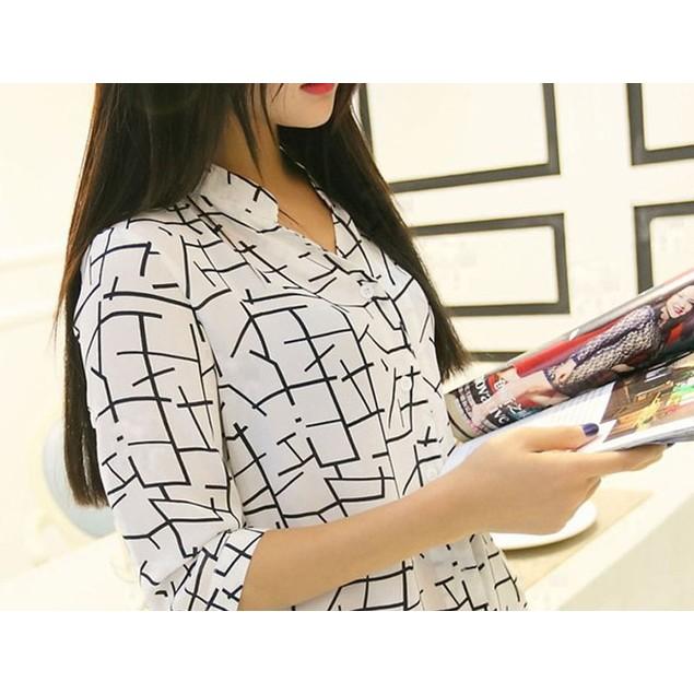 New Women's Elegant Long-sleeve Print Chiffon Fashion Slim Blouses