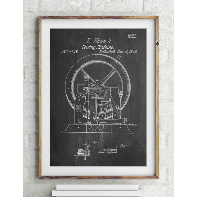 Sewing Machine Patent Poster