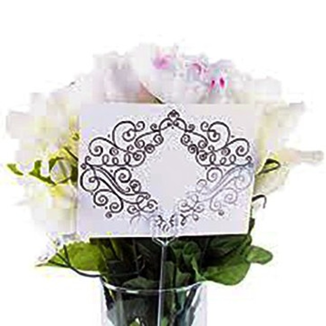 Plastic Straight Head Floral Picks Cardette Card Holder