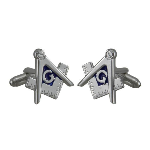 Masonic Compass And Square Polished Silver Finish Mens Cuff Links