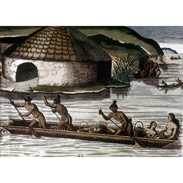 De Bry: Florida Native Americans /Ntaking Fruit To Their Storehouses. Color