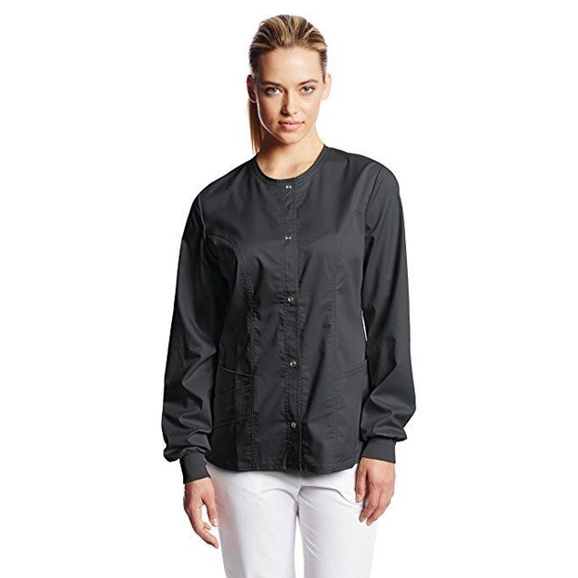 Cherokee Women's Scrubs Luxe Snap Front Warm Up Jacket, Black, 3X-Larg