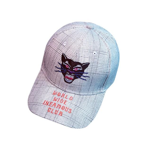 Embroidery Letter Cat Baseball  Cap Girls Snapback Hip Hop Flat Hat  y