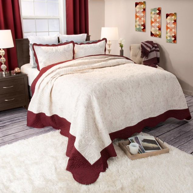 Lavish Home Juliette Embroidered Quilt 3 Pc Set - Full/Queen