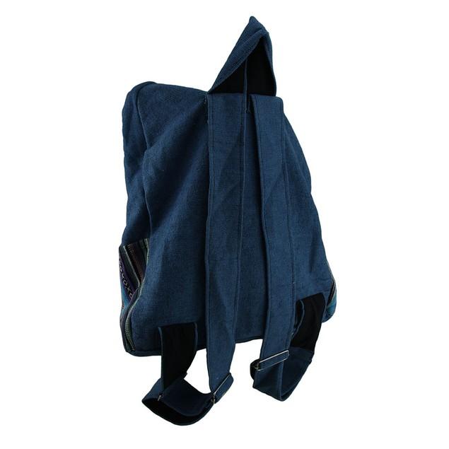 Blue Hamsa Hand Cotton Canvas Tapestry Striped Basic Multipurpose Backpacks