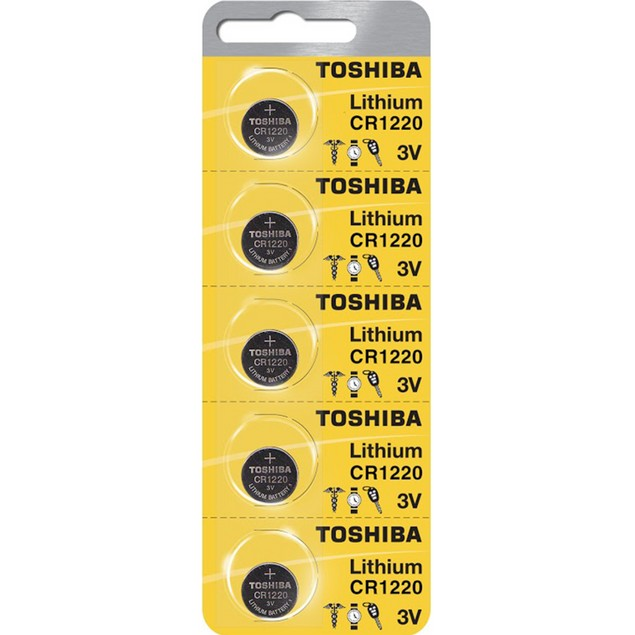Toshiba CR1220 3-Volt Lithium Coin Cell Batteries (5 Batteries)