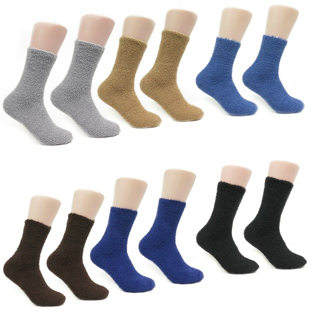 Magg 6 or 12 Pairs Mens Crew Ultra Soft Warm Fuzzy Solid or Striped Socks